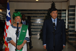 President Sirleaf and Mr. Lakshmi Mittal at a press stake out at the Foreign Ministry in Monrovia.