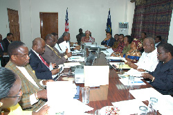 President Sirleaf and members of her cabinet at the Foreign Ministry in Monrovia.