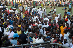 A cross-section of Liberians at the Antoinette Tubman Stadium in Monrovia.