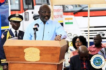Pres. Weah Speaking at the Buses Dedication Ceremony