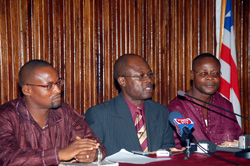 Assistant Information Minister, Abu Kamara(L); Press Sec.Cyrus Wleh Badio(c); Deputy Information Minister for Public Affairs, Gabriel Williams