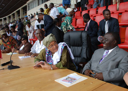 President Sirleaf in a conversation with House Speaker Alex Tyler at the Samuel Kanyon Doe Sports Complex.