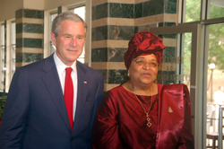 President Ellen Johnson Sirleaf with visiting U.S. President George W. Bush in Monrovia, Liberia.