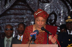 President Sirleaf makes remarks at the event.