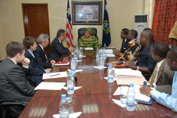 Members of the Italian delegation in a meeting with President Sirleaf at the Foreign Ministry in Monrovia.