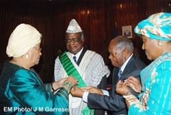 Namibia's President is conferred upon the Grand Cordon in the Most Venerable Order of Knighthood of the Pioneers of the Republic of Liberia.