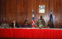 President Sirleaf with  National AIDS Commission officials.