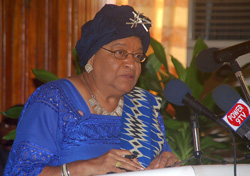 President Sirleaf addresses the symposium.
