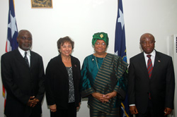 (L-R) President Pro Tempore of the Liberian Senate, Senator Isaac Nyenabo, Congresswoman Nita Lowey, President Sirleaf and Vice President Boakai.