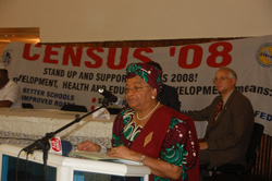 President Sirleaf officially launches the census.