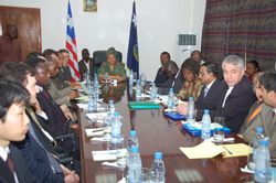 President Sirleaf and members of the UN Delegation at the Foreign Ministry in Monrovia, Liberia.