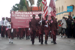 Some students of the E. Jonathan Goodridge Memorial High School in Barnersville Estate parading the streets of Monrovia.