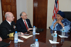 President Sirleaf discusses with AFRICOM official.