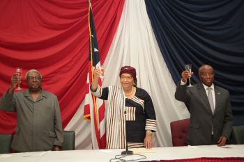 Dr. Amos Sawyer President Sirleaf and VP Boakai at the commissioning ceremony.