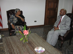 President Sirleaf and Counselor Brumskine at the Foreign Ministry in Monrovia.