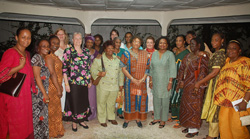 President Sirleaf and women heads of NGOs operating in Liberia.