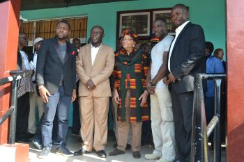 Group photo with President Sirleaf.