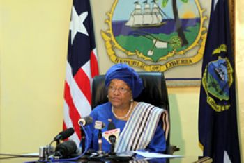 President Sirleaf, as she announces the reshuffle of her Cabinet.