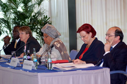 President Ellen Johnson Sirleaf shares a panel with development partners at the Liberia Poverty Reduction Forum (LPRF) in Berlin, Germany this week.