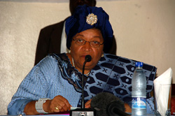 President Sirleaf addressing members of the press