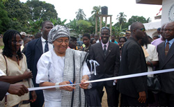 President Sirleaf cuts the ribbon for Haweh Academy  in New Georgia, Gardnersville