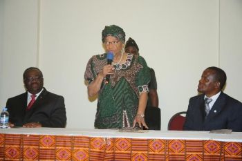 Pres. Sirleaf speaking during the dedication of Millennium Guest House and Suites.