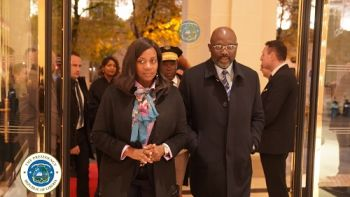 President Dr. George Manneh Weah and First Lady Clar M. Weah Arrive in Paris