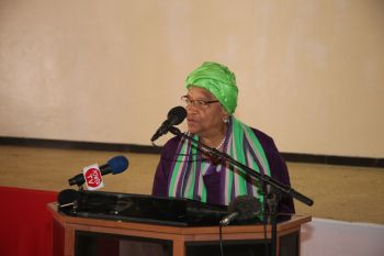 President Ellen Johnson Sirleaf  making remarks at Liberian Youth Peace Building National Conference at  Paynesville City Hall.