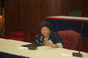 President Ellen Johnson Sirleaf presiding over cabinet Meeting