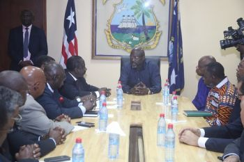 President George Weah during a meeting with African Diplomats at his Foreign Minister Office in Monrovia