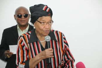President Sirleaf  makes remarks at the launch of Women's Situation Room in Mamba Point.