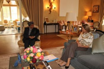 President Sirleaf Meets with Princess Maxima of the Netherlands.