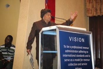 President Sirleaf Speaking at the occasion.