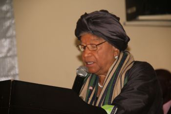 President Sirleaf addessing the ECOWAS Human Rights Day in Monrovia.