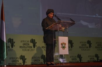 President Sirleaf addresses the  2017 Edition of the African Green Revolution Forum in Abidjan, La Cote D'Ivoire.