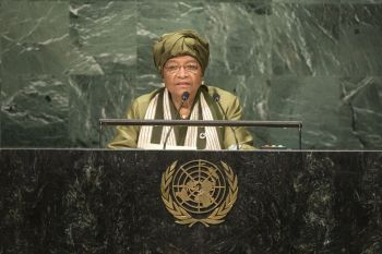 President Sirleaf addresses the 71st Session of the UN General Assembly.