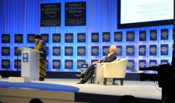 President Sirleaf addresses the World Economic Forum Annual Meeting in Davos, Switzerland.