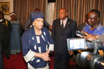 President Sirleaf addressing  members of the press at RIA.