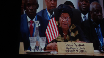 President Sirleaf addressing the Africa Action Summit - Marrakech.