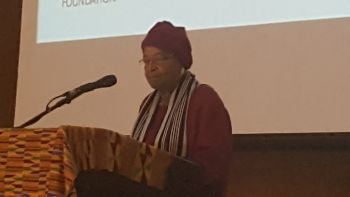 President Sirleaf addressing the Harvard Africa Alumni Action Forum in Accra-Ghana.