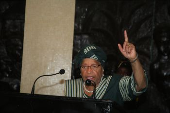 President Sirleaf addressing the Women's Policy Platform at the Capitol.
