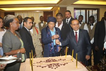 President Sirleaf and Boulevard Palace CEO Mr.  Mr.  Salim Halabi, CEO of Boulevard  in a happy mood.