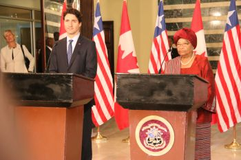 President Sirleaf and PM Trudeua at the press stakeout.
