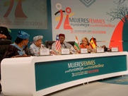 President Sirleaf and Panel Prepare for Presentations at the Third Annual Women for a Better World Conference