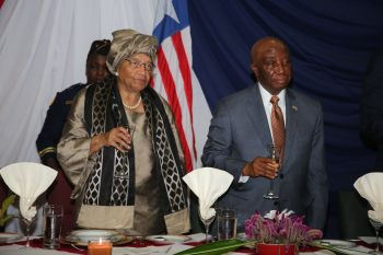 President Sirleaf and Vice President Boakai at the dinner.