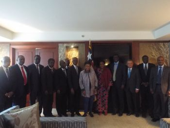President Sirleaf and a cross-section of ECOWAS diplomats.