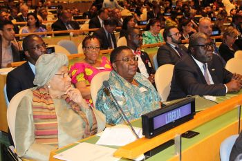 President Sirleaf and delegation at the opening of the 71st UN General Assembly Debate.