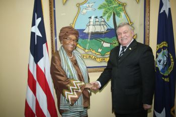 President Sirleaf and new Ukriane Ambassador to Liberia His Excellency Ambassador Alexandre OVCHAROV.