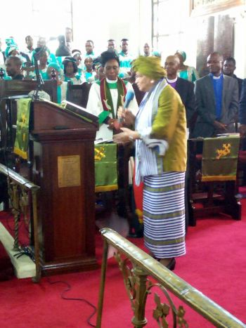 President Sirleaf at the First United Church on on her 79th birthday.