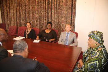 President Sirleaf at the head of the courtesy visit of Global Fund CEO - Dr. Mark Dybul.